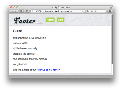 Sticky footer long page