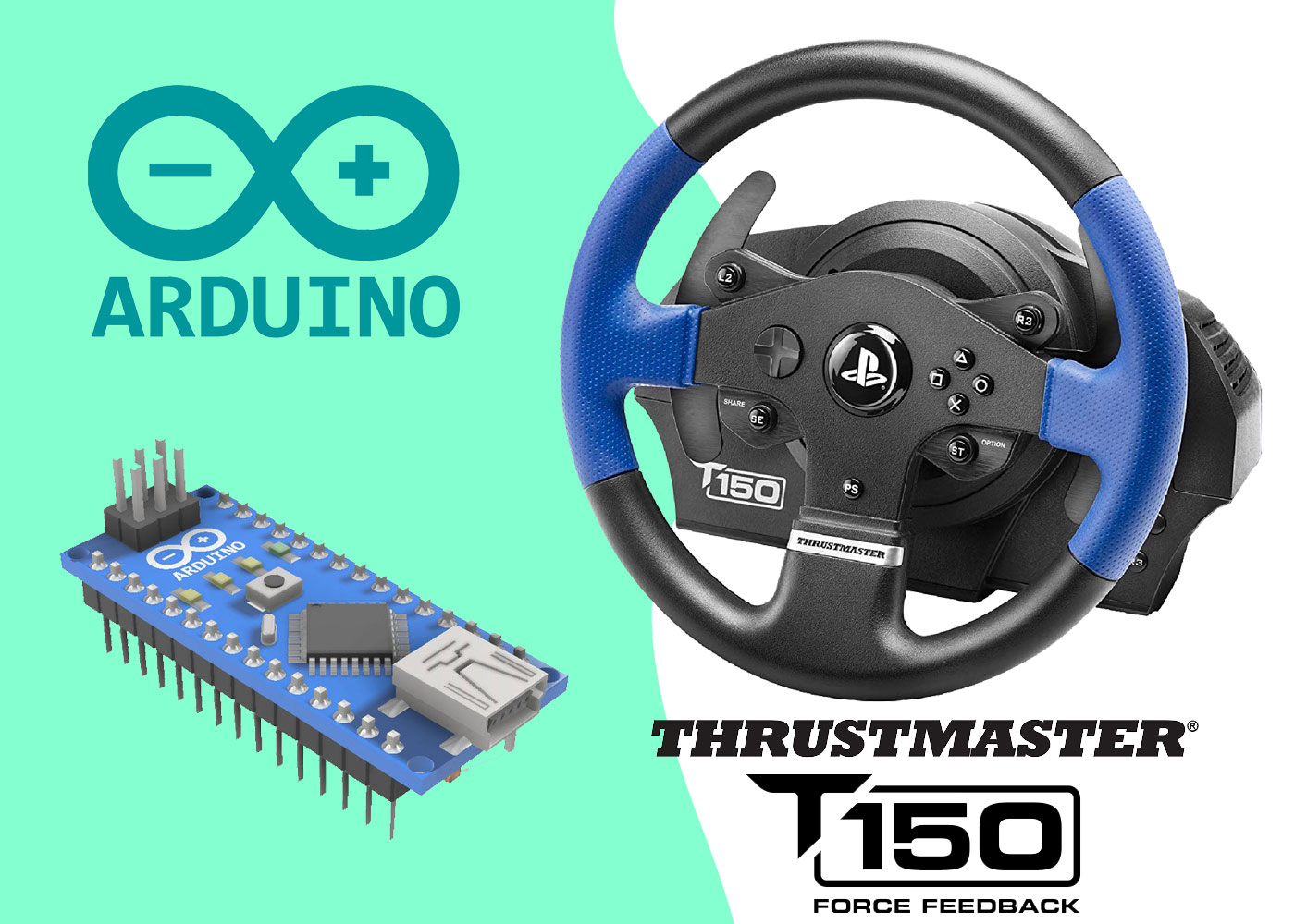 Thrustmaster T150 custom arduino wheel