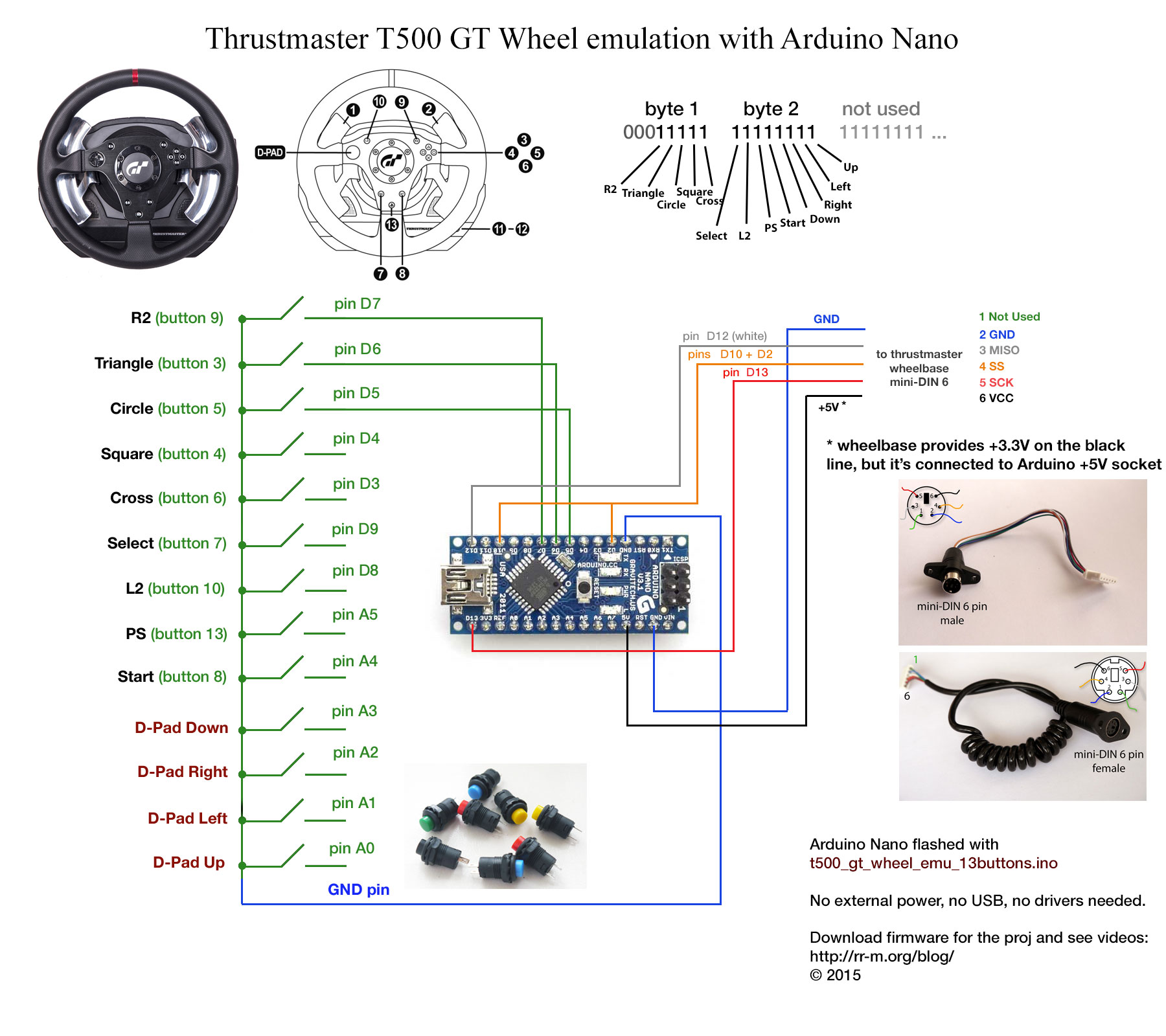 Wiring For Push Button Electrical Diagram Start Stop Emulating Thrustmaster T500 Gt Wheel Electronics With Wire Arduino